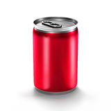 Red beverage aluminium can. Beverage aluminium can  on white background Royalty Free Stock Photography