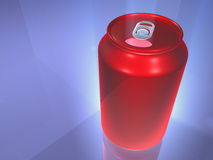 Red beverage can. A red beverage can on a blue background Royalty Free Stock Images