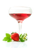 Red beverage and fresh strawberry Stock Images