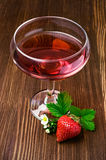 Red beverage with strawberry Stock Image