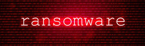 Red BG with Code. Cyber Attack and Ransomware stock illustration