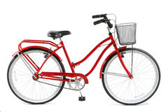 Red Bicycle. Over white background stock photography
