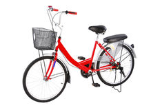 Red bicycle. Red housewife bicycle for go out to buy some stuffs or grocery at the market or food center royalty free stock photos