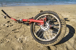 Red Bicycle by the beach Stock Photography