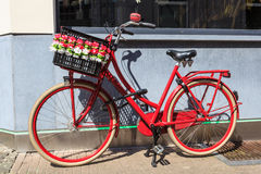 Red bicycle in Belgium Stock Photos