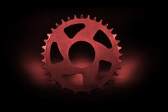 Red Bicycle chainring royalty free stock images