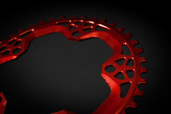 Red Bicycle chainring Royalty Free Stock Photo