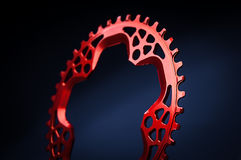 Red Bicycle chainring Stock Photos