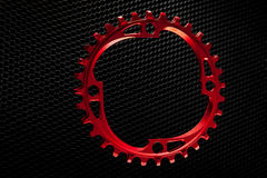 Red Bicycle chainring Stock Images