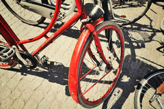 Red bicycle in the city Royalty Free Stock Photography