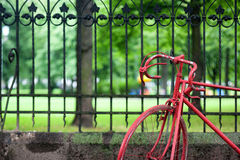 Red bicycle at the fence of the old park Stock Photos