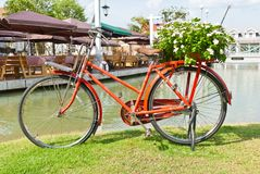 Red bicycle on green grass Royalty Free Stock Images
