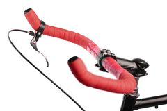 Red bicycle handlebar Royalty Free Stock Images