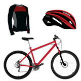 Red bicycle, helmet and shirt Stock Images
