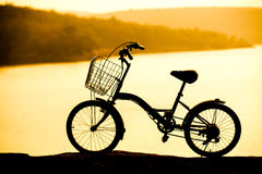 Red bicycle on the hill Royalty Free Stock Photos