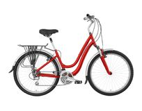 Red Bicycle Isolated Stock Image