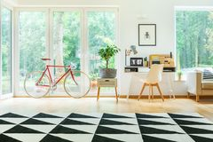 Desk in spacious living room. Red bicycle, plant on white cabinet and white chair at desk in spacious living room with geometric carpet Stock Photos