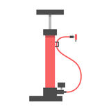 Red bicycle pump on white background. Flat design modern vector illustration Royalty Free Stock Image