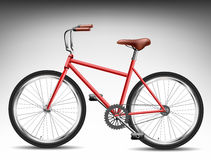 Red bicycle. From side view Royalty Free Stock Photos