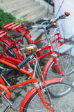 Red bicycle vintage Royalty Free Stock Photos