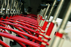 Red bicycles stock photos