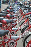 Red Bicycles in Luang Prabang Stock Photography