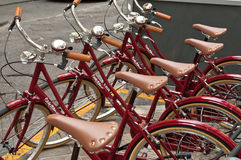 Red bicycles. Ride the bike in center of Florence is very popular. almost all streets are in pedestrian zone and its the best way to move around. those bikes are Stock Photos