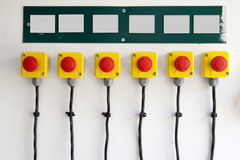 Red big buttons on the wall Stock Image