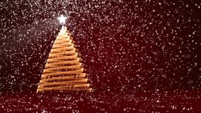 Red big Christmas tree from glow shiny particles on the left side of screen. Winter theme for Xmas or New Year. Big Christmas tree from glow shiny particles on stock video footage