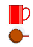 Red big cup. Vector illustration isolated on white background Stock Photos