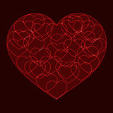 Red big heart filled with small outline hearts Royalty Free Stock Photos