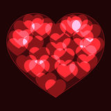 Red big heart made form small bokeh neon hearts Stock Image