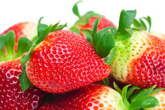 Red big juicy ripe strawberries Stock Photos