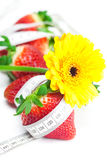 Red big juicy ripe strawberry and flower Stock Photos