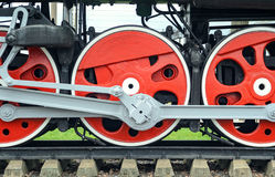 Red big loco wheels Stock Images