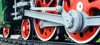 Red big loco wheels Royalty Free Stock Images