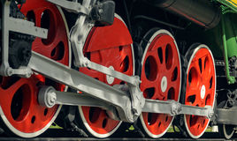 Red big loco wheels Royalty Free Stock Photography