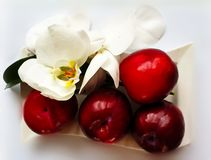 Red Big Plums Sweet With orchid desert on White Plate. Love Quotes Strawberry on White Plate With Orchids , Healthy food ,Summer Berry Gardening royalty free stock photography