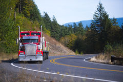 Red big rig Semi Truck with trailer winding road. Muzzle classic red semi truck with a chrome grille and vertical exhaust pipes with flat bed trailer loaded with Stock Photo