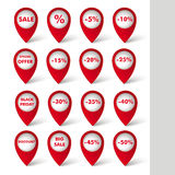 Red Big Sale Pointer White Background. Red markers with sale icons on the white background Stock Image