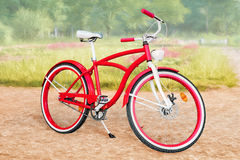 Red bike against stylized summer park landscape Stock Image