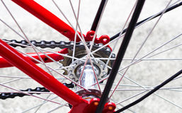 Red bike and back wheel Stock Photo