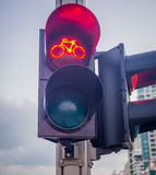 Red biking traffic light Royalty Free Stock Images