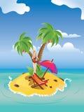 Red Bikini Girl on Island. Blonde girl in red bikini with martini glass on tropical island Royalty Free Stock Photo