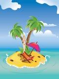 Red Bikini Girl on Island. Blonde girl in red bikini with martini glass on tropical island Stock Photography