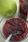 Red bilberries jam (lingonberries) Stock Image