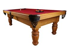 Red Billiards Pool Table. Red felt pool table isolated on white background Royalty Free Stock Images