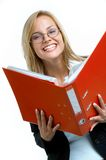 Red binder. Young businesswoman with red binder Royalty Free Stock Photos