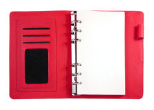 Red binder notebook isolated Stock Images