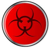 Red Bio Hazard Emergency Button. A large red bio hazard emergency stop button over a white background Royalty Free Stock Image